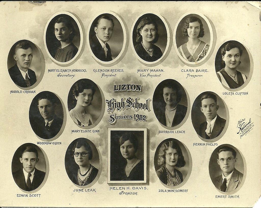 Indiana hendricks county lizton - Lizton High School Class Of 1932
